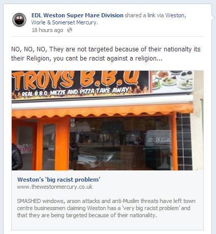 EDL Weston Super Mare Division denies racism