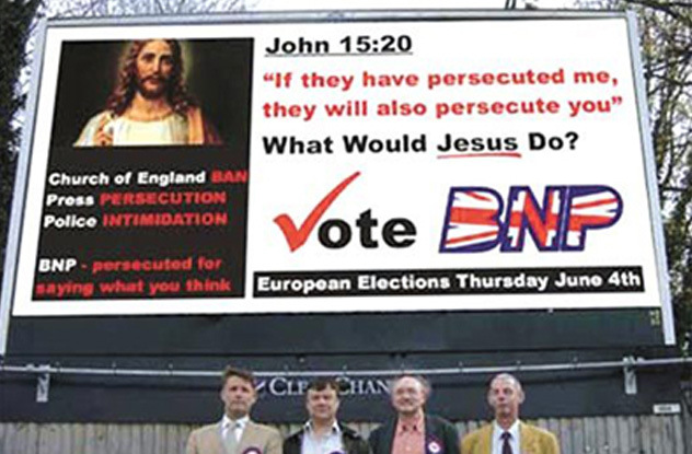 BNP What Would Jesus Do election poster