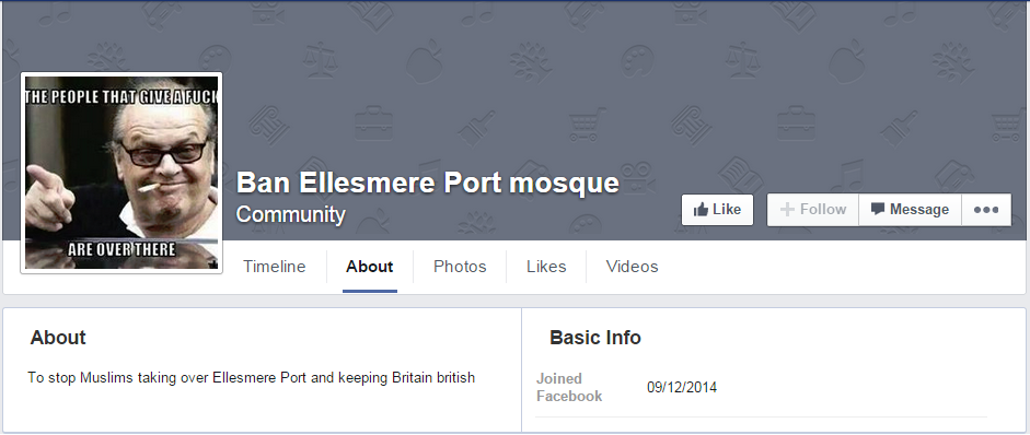 Ban Ellesmere Port mosque Facebook page