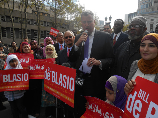 Bill de Blasio at rally