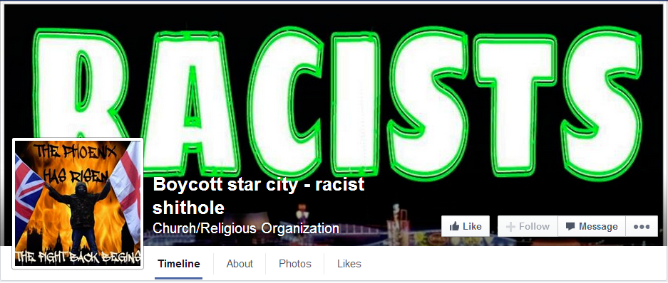 Boycott star city racist shithole Facebook page