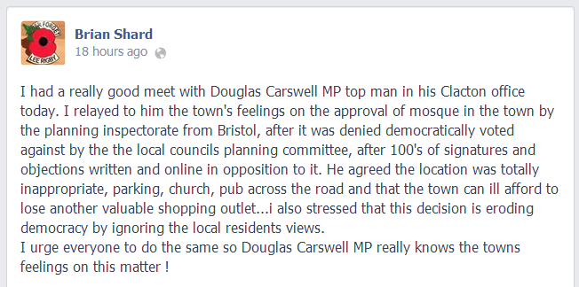 Brian Shard reports meeting with Douglas Carswell's office