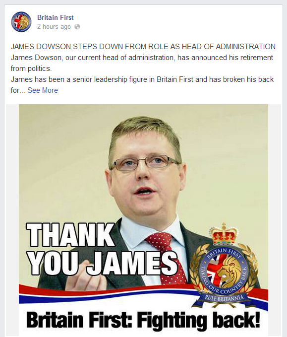 Britain First Thank You James