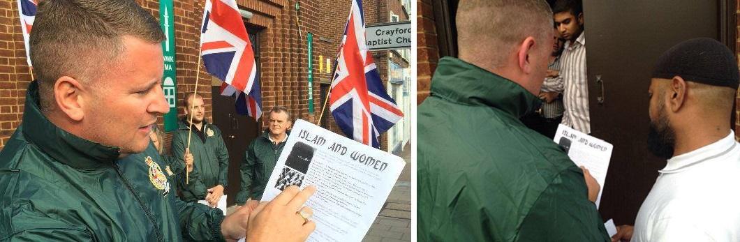 Britain First at Crayford mosque August 2014