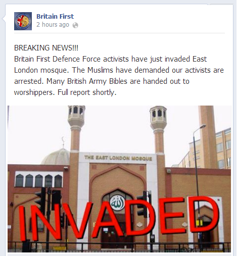 Britain First 'invades' ELM