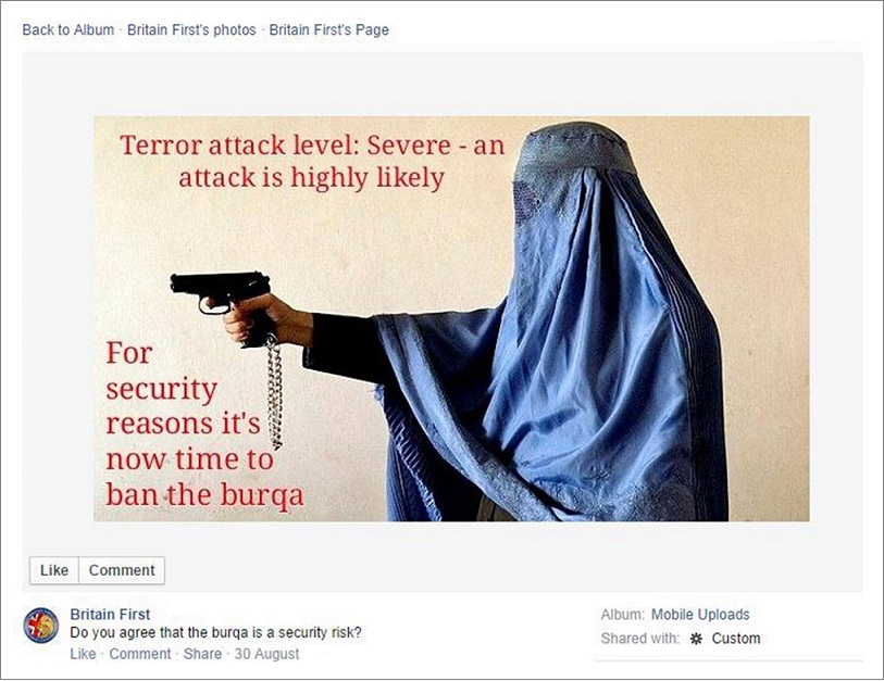 Britain First misappropriates Lana Slezic's photo