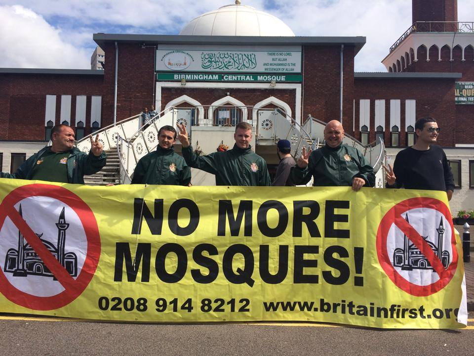 Britain First outside Birmingham Central Mosque