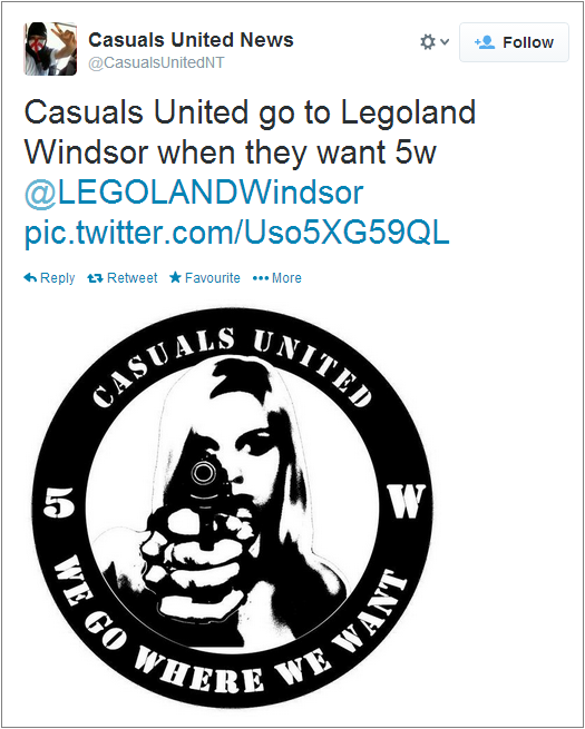Casuals United Legoland protest