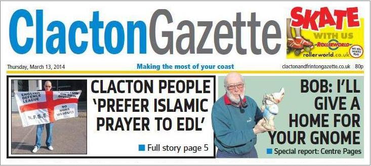 Clacton Gazette EDL front page