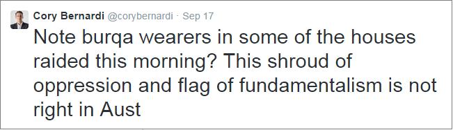 Cory Bernardi ban burqa tweet