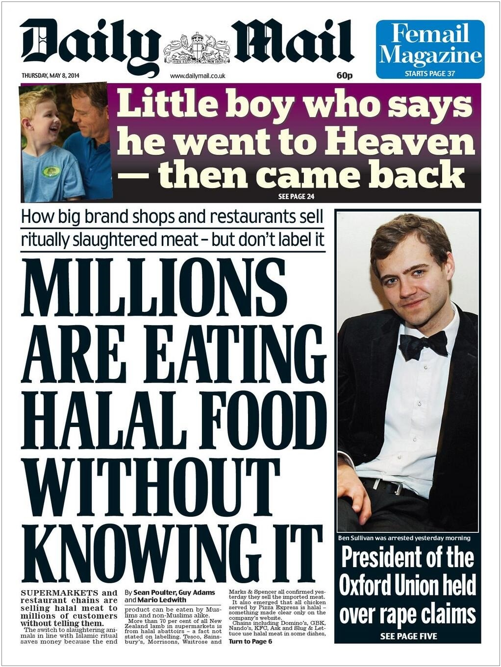 Daily Mail Millions Are Eating Halal Food front page