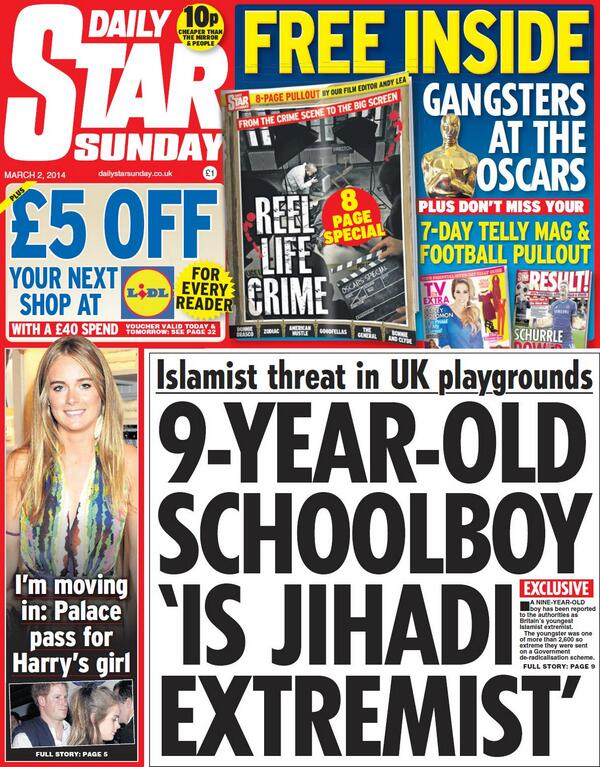 Daily Star Sunday jihadi extremist headline