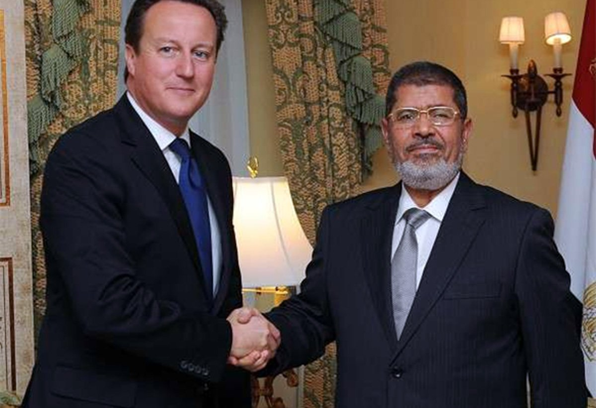 David Cameron with Mohammed Morsi