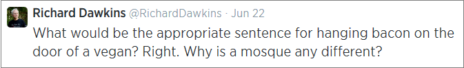 Dawkins vegan bacon tweet