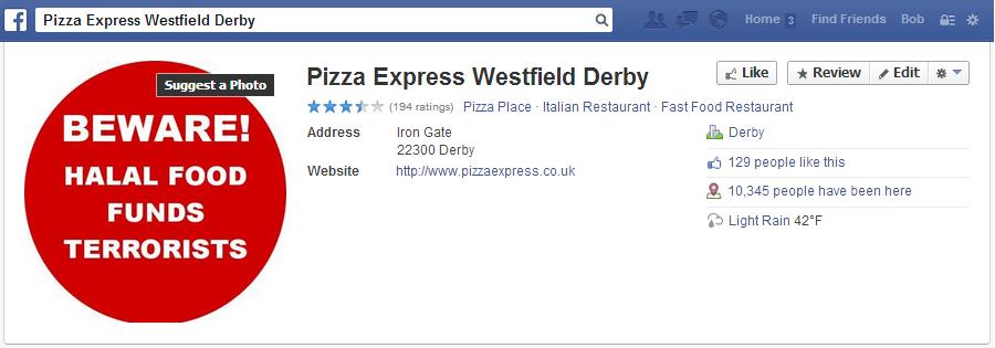 Derby Pizza Express Facebook page sabotaged