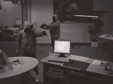 A handout picture from a surveillance camera shows two of the suspected 'doner murderers', during a bank robbery in Arnstadt