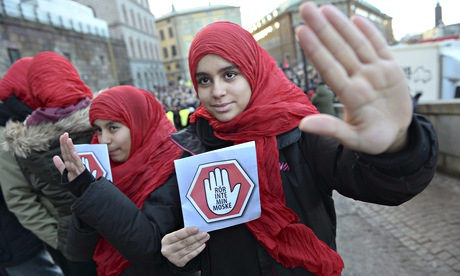 'Don't touch my mosque' at a demonstration in Stockholm, Sweden