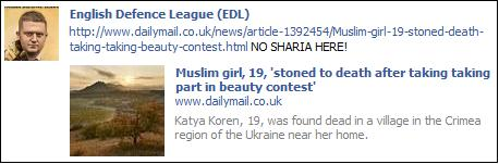 EDL Daily Mail stoning story