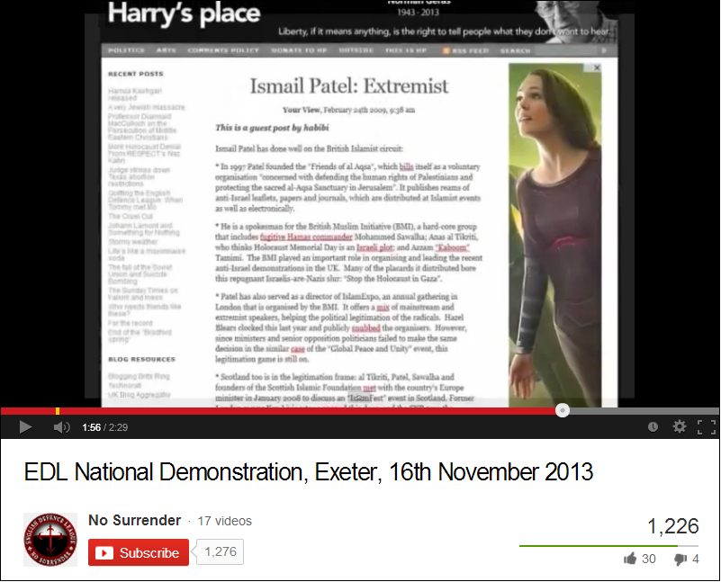 EDL Exeter demo video uses Harry's Place propaganda