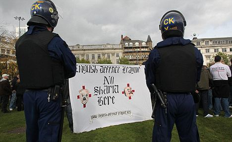 English Defence League Hold Demonstrations In Manchester