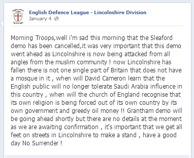 EDL Sleaford demo cancelled