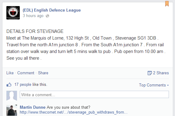 EDL Stevenage ad