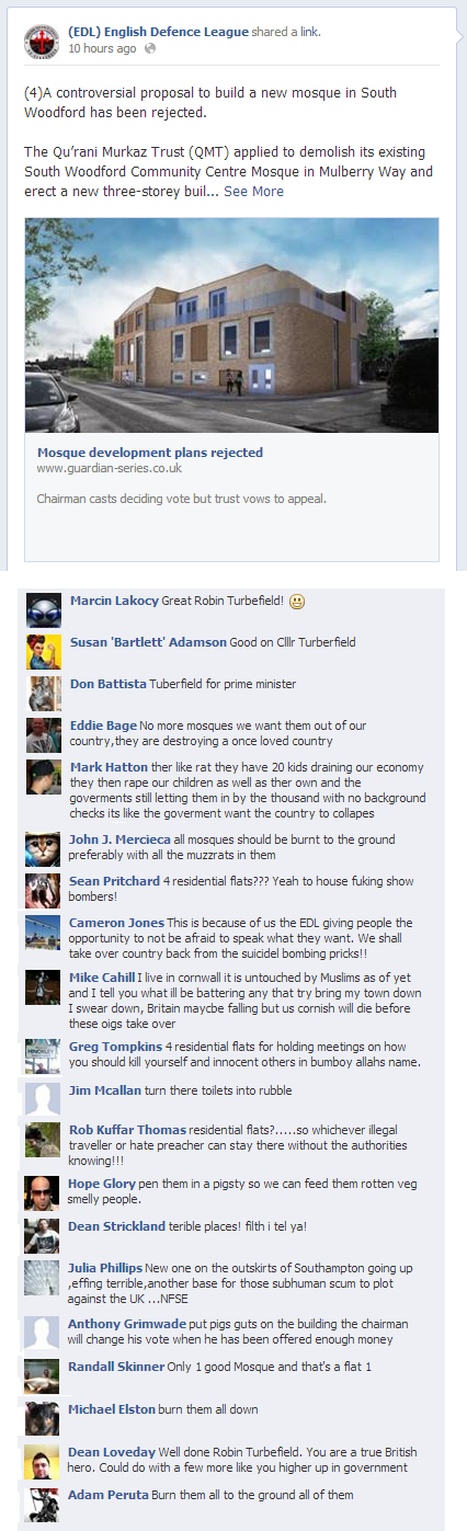 EDL comments on South Woodford mosque
