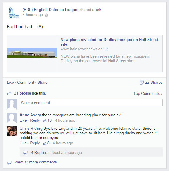 EDL on Dudley mosque plan