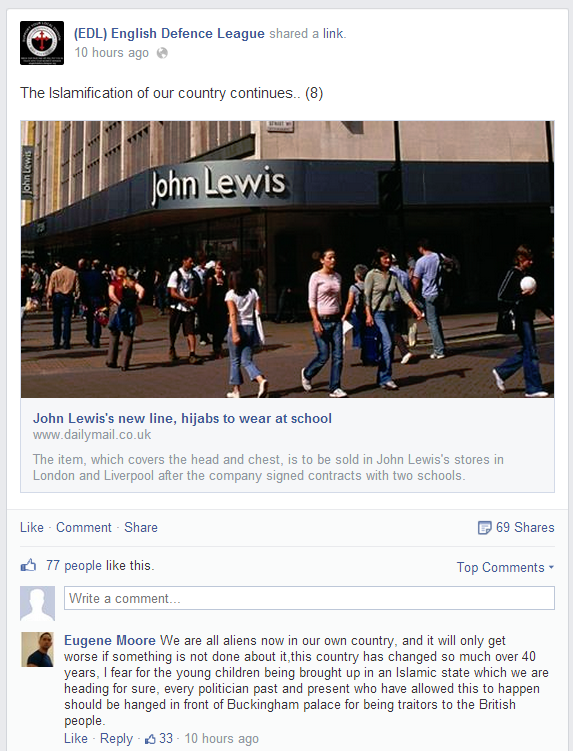 EDL on Mail John Lewis hijab story