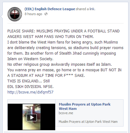 EDL on harassment of Muslims at Upton Park