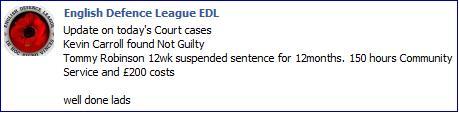 EDL reaction to Lennon's sentence