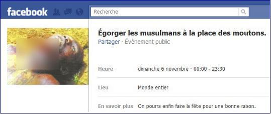 Egorger les musulmans Facebook page