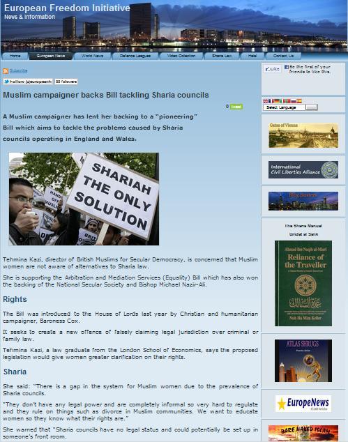 European Freedom Initiative Tehmina Kazi