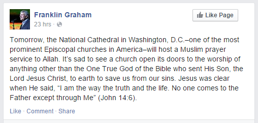 Franklin Graham condemns National Cathedral