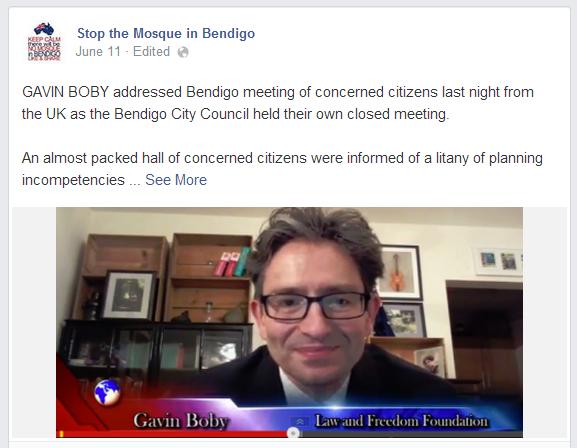 Gavin Boby addresses Bendigo anti-mosque campaign