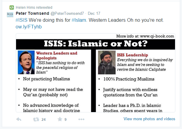 Helen Hims ISIS retweet
