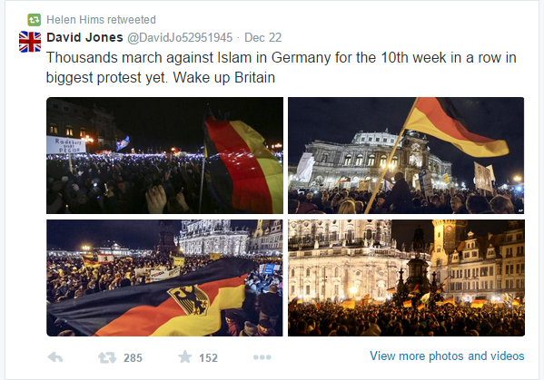 Helen Hims RT David Jones on PEGIDA