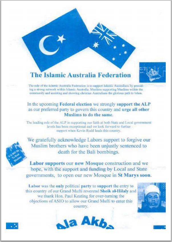 Islamic Australia Federation bogus leaflet