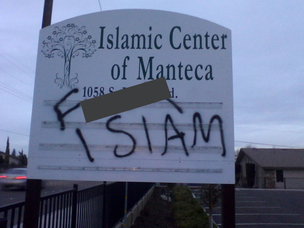 Islamic Center of Manteca graffiti