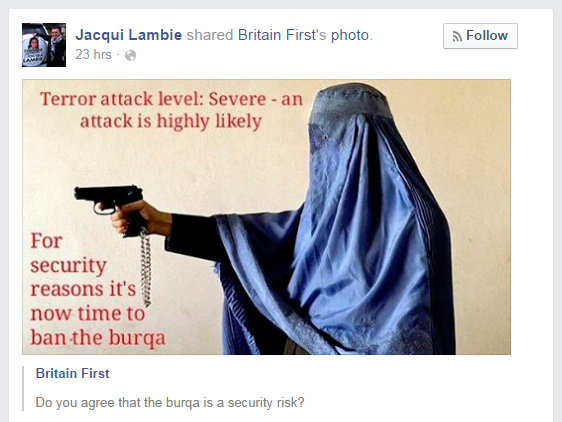 Jacqui Lambie shares Britain First photo