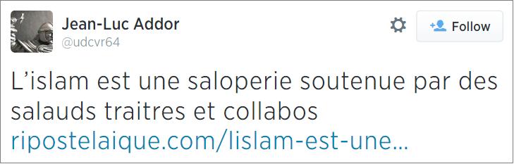 Jean-Luc Addor Islam tweet