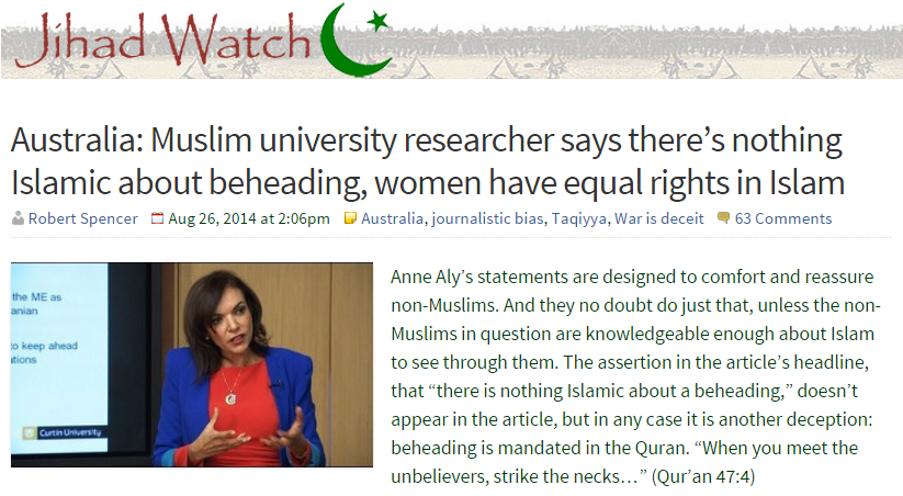 Jihad Watch attacks Anne Aly