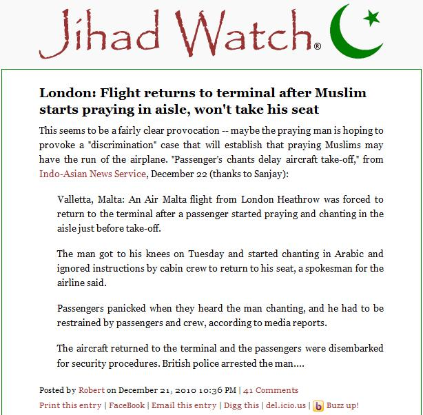 Jihad Watch on the 'Muslim provocation' that wasn't