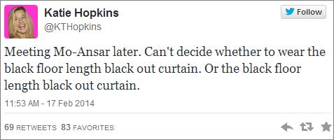 Katie Hopkins black curtain tweet