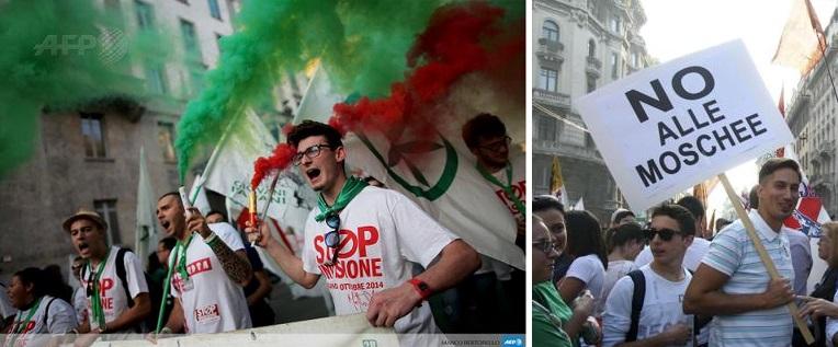 Lega Nord Milan protest
