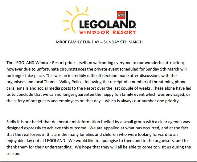 Legoland Windsor cancellation press release
