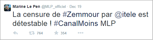 Marine Le Pen denounces Zemmour sacking