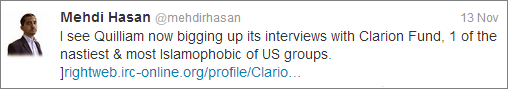 Mehdi Hasan on Quilliam and Clarion Fund
