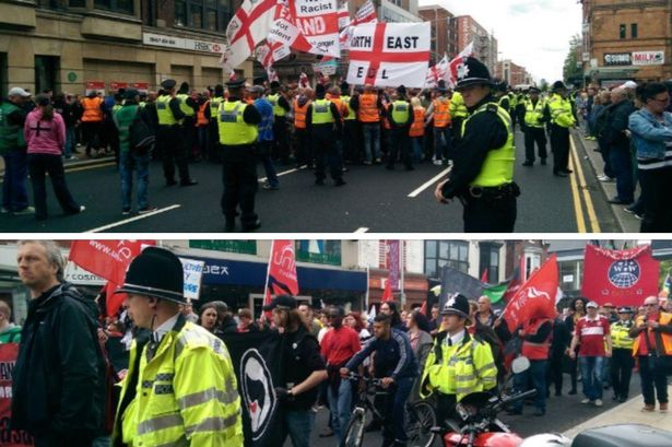 Middlesbrough EDL protest and counter-demo