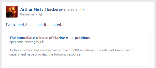 Misty Thackeray Marine A petition